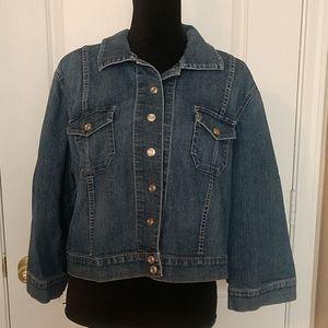 Chico's Size 3 Denim 3/4 Length Sleeve Jacket